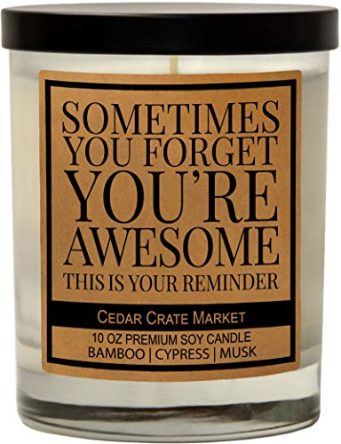 You're Awesome Scented Candles - Thank You Gifts, Appreciation Gifts, Gift for Her, Best Friend, Friends Gifts, Encouragement, Birthday Gifts for Women, Men, Coworker, Funny Candle, Relaxing Gifts
