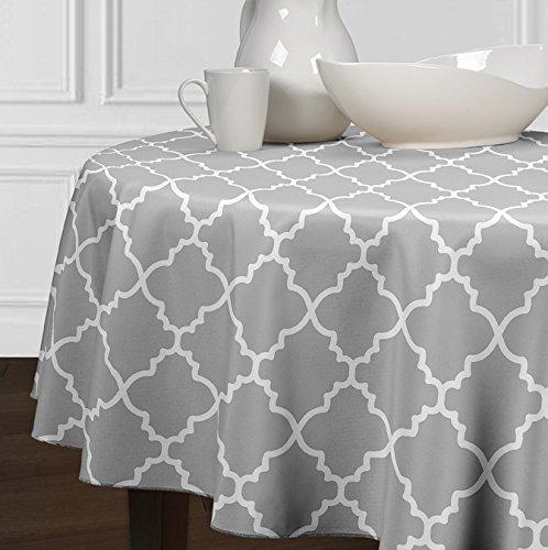 A LuxeHome grigio e bianco in stile moderno, traliccio tovaglie tavolo da pranzo rotondo da cucina 213,4cm