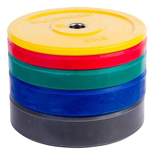 Sport-Thieme Hantelscheibe Bumper Plate, bunt | 50mm Gewichtscheibe | 5kg - 25kg | Vollgummiert mit Stahlring | Markenqualität