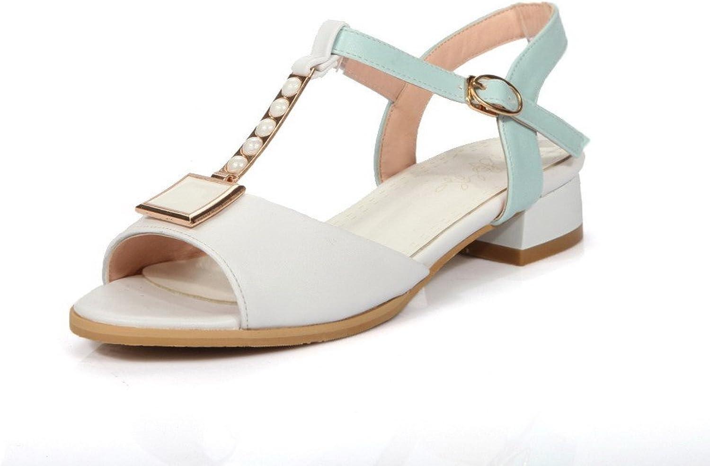 AllhqFashion Women's PU Two-Toned Buckle Open Toe Low-Heels Sandals