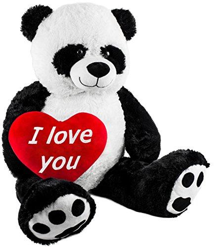 BRUBAKER Peluche Gigante XXL - Oso Panda - 100 cm - Corazón de Felpa 'I Love You' Incluido