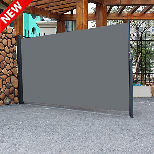 """DANGRUUT Best Retractable Folding Side Screen Awning Waterproof Sun Shade, Outdoor Patio Wind Screen Privacy Divider, Side Pull Shed Office Partition Cafe Terrace Windshield (118"""" x 71"""" Dark Gray)"""