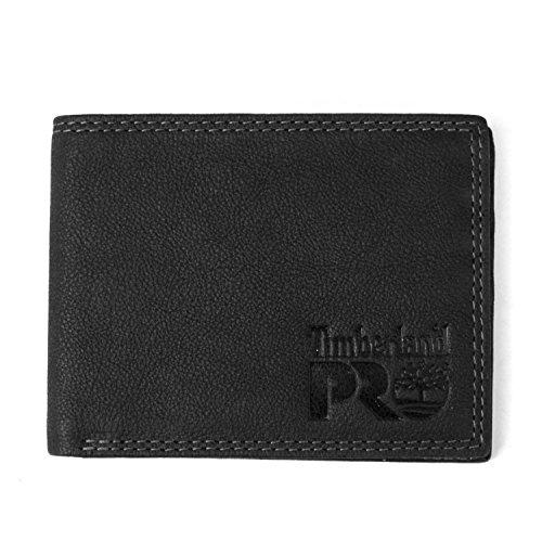 Timberland PRO Men's Slim Leather RFID Bifold Wallet with Back ID Window, Black/Bullard, One Size