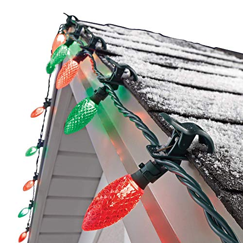 NOMA C9 LED Quick Clip Christmas Lights | Built-in Clip-OnString Lights | 24Red & GreenBulbs | 16FootStrand