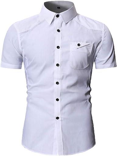 Camisa de Vestir de Manga Corta con Botones para Hombre ...
