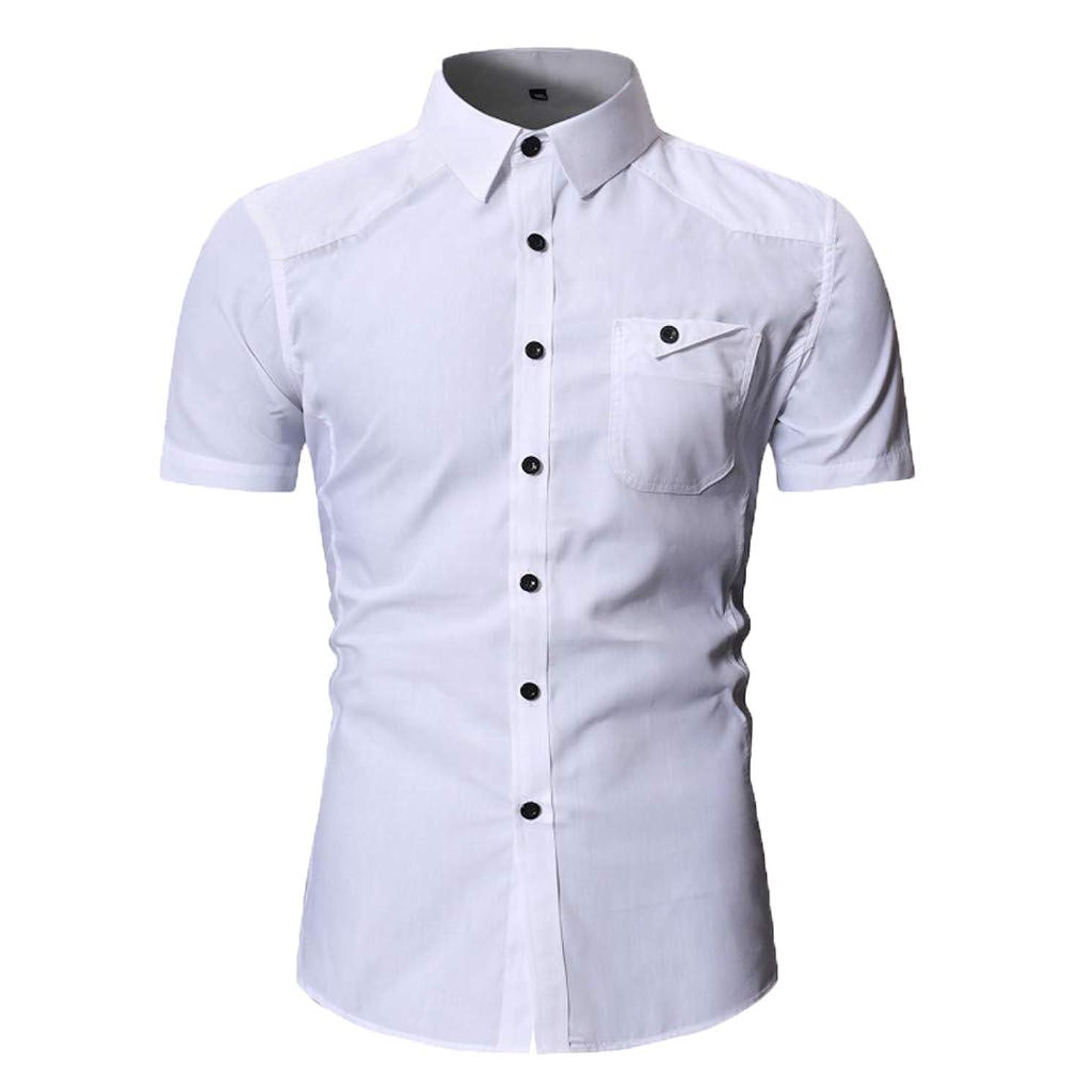 JJLIKER Men's Standard-Fit Short-Sleeve Plain Shirts Button Down Casual Pocket Shirt Tops Slim-Fit Dress Shirt Tees