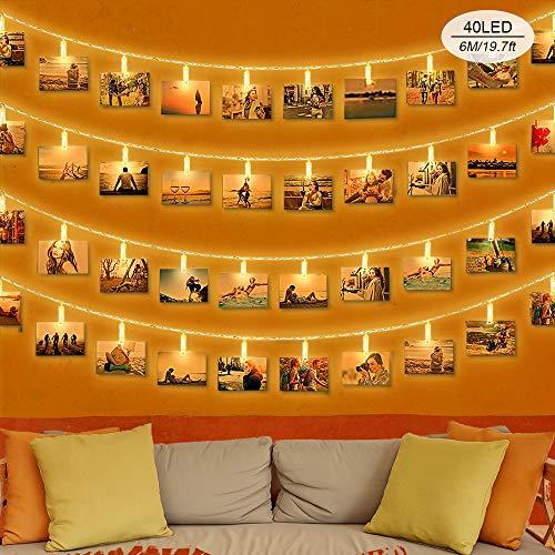 Sooair Foto Lichterkette für Zimmer Dekoration, 6M 40 LED Lichterkette mit Klammern für Fotos, LED Fotoclips Lichterkette, Warmweiß Batteriebetrieben Lichterketten für Weihnachten,Hochzeiten