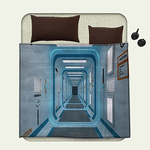 smallbeefly Outer Space Patterned blanket Galactic Hallway with Caution Signs Discovery Explore Invasion Print Artworkbeach blanket Blue White