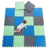DrNanhai Esterilla Puzzle de Fitness-18 losas de EVA Espuma Alfombrilla Protectora Protección para el Suelo para máquinas de Deporte y gimnasios sobre el Piso Fácil de Limpiar - Verde+Azul+Gris