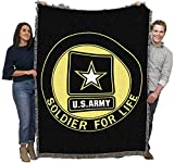 US Army - Star Logo - Soldier for Life - Cotton Woven Blanket Throw - Made in The USA (72x54)