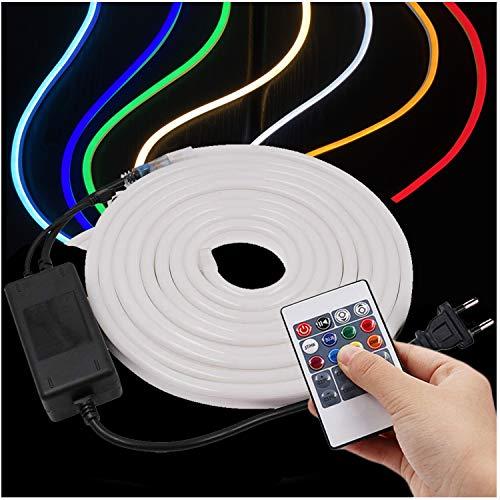 XUNATA 20 metros Tira de neón LED RGB flexible, 220V SMD 2835 120leds / m Cuerda, tubo de luz de tira LED regulable con 20 teclas de control remoto
