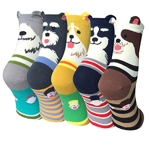 Justay Damen Socken aus Baumwoll mit Süße Katze Tiermuster, Lustige Bunte für Socken Mädchen, 5 Paar MEHRWEG