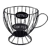 Fenteer Vintage de Gran Capacidad Coffee Pod Holder Iron Keeper Capsule Coffee K Cup Basket Organizador Contenedor para El Hogar Hotel Cafe Decoración de La E - Negro, Individual