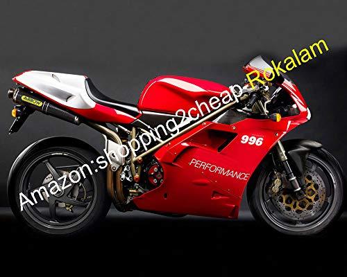 Motocyclettes Carrosserie ABS Pour 748 996 1996 1997 1998 1999 2000 2001 2002 Carénage Blanc Rouge (Moulage Par Injection)