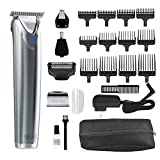 Wahl Stainless Steel Lithium Ion 2.0+ Slate Beard Trimmer for Men - Electric Shaver, Nose ear trimmer, Rechargeable All In One Men's Grooming Kit - model 9864Ss