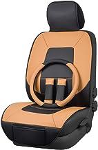 AmazonBasics - Juego Deluxe de fundas de asiento de cuero sintético, tamaño universal, sin laterales, con cubierta para volante y almohadillas para cinturón de seguridad, negro y marrón