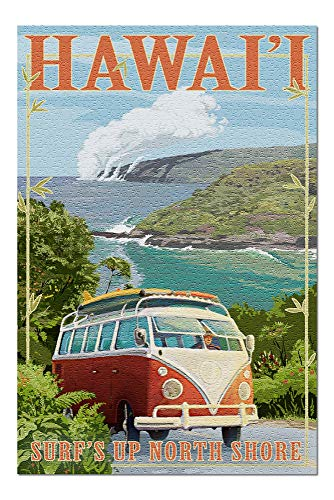 Promini North Shore, Hawaii - Surf's Up - Camper Van Coastal - 1000 Piece Jigsaw Puzzles for Adults Kids, Puzzles for Toddler Children Learning Educational Puzzles Toys for Girls Boys 20' x 30'