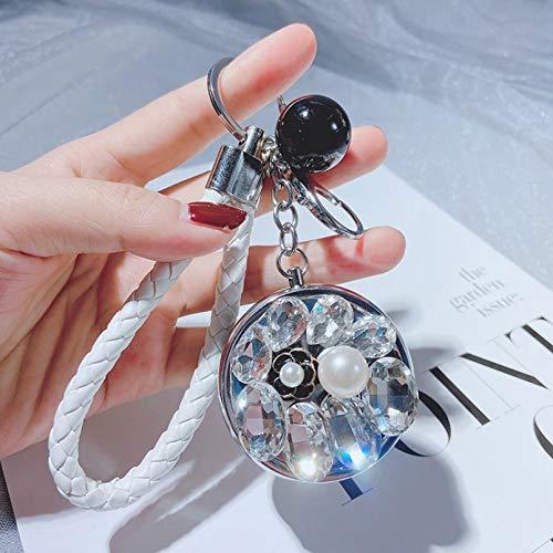 HWWGG Llavero de Espejo pequeño con Tachuelas de Diamantes Plegable portátil Creativo para Llevar Accesorios de Bolsa de Espejo de Maquillaje Llavero