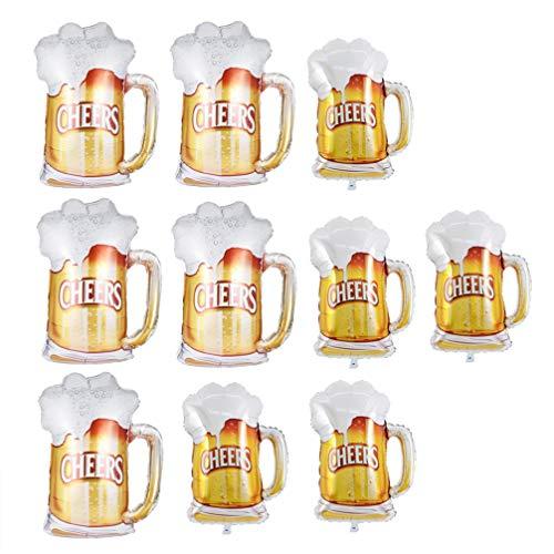 NUOBESTY - Globos de plástico con forma de taza de cerveza, 10 unidades, grandes globos de helio, para Navidad, cumpleaños, fiesta de cerveza, decoración para fiestas