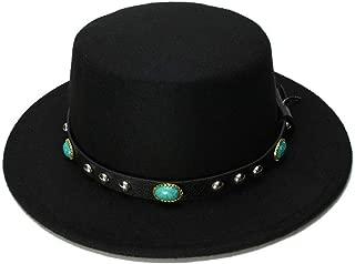 Bin Zhang Retro Kid Vintage Wool Wide Brim Cap Pork Pie Porkpie Bowler Hat Solid Coffee Leather Band(54cm/Adjusted)