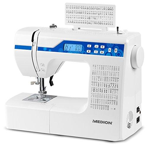 MEDION MD 15694 - Máquina de coser digital, 30 W, ojal en 1 paso, 100 tipos de puntada, 100 puntadas alfabéticas, luz de costura LED, amplia gama de accesorios, color blanco
