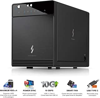 "Mediasonic USB 3.1 4 Bay 3.5"" SATA Hard Drive Enclosure – USB 3.1 Gen 2 10Gbps Type C/USB-C (HF7-SU31C)"
