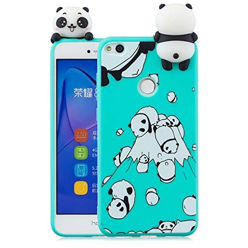 Nodigo Funda Compatible con Huawei P8 Lite 2017 Silicona 3D Animal Dibujos Motivo Creativo Ultrafina Carcasa Case Antigolpes TPU Bumper Kawaii Resistente Cover - Panda Verde