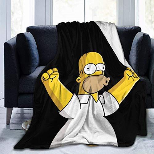"Happy-life Fleece Blankets The-Simpsons-Homer Jay Simpson Sofa Warm Cozy Bed Linen Microfiber Super Soft Lightweight Luxury Yoga Mats Blanket Throw Size 50x40 60x50 80x60 Inch 50""x40"" Fashion Black"