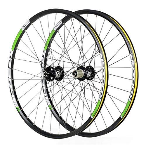 ZLYY Ruedas de Ciclismo para 26 27.5 29 pulgadas Mountain Bike Wheelset, Aleación de Doble Pared de Liberación Rápida Disco Compatible 8-11 Velocidad, Verde, 29'