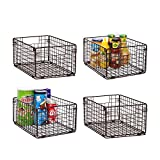 X-cosrack Foldable Cabinet Wall Mount Metal Wire Basket Organizer with Handles - 4 Pack,12x9X6'Farmhouse Food Storage Mesh Bin for Kitchen Pantry Bathroom Closet Garage-Patent Applied-Coffee Brown