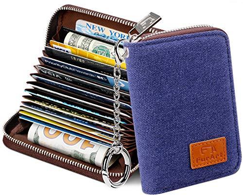 Preisvergleich Produktbild FurArt Kreditkartenetui für Damen und Herren,  RFID Schutz,  14 Fächer, Schlüsselanhänger, Reißverschlussetui