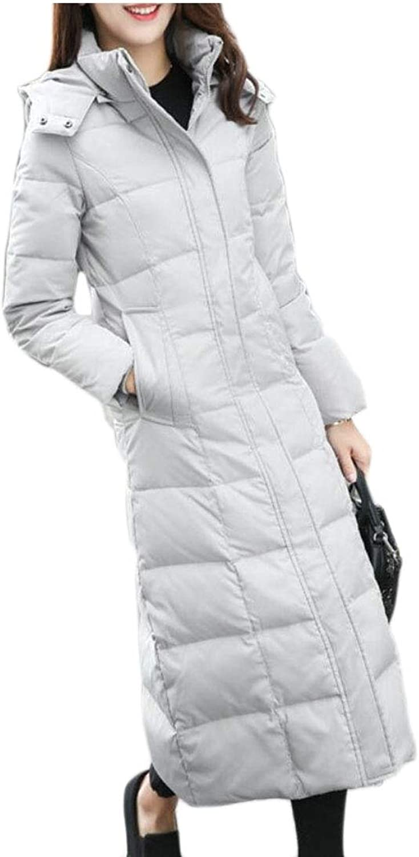 Maweisong Women's Winter Hooded Full Zip Long Down Coat Jacket