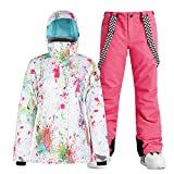Womens Ski Suit Jackets Pants Set Insulated Snowboarding Jacket Snow Coat Suit with Hooded