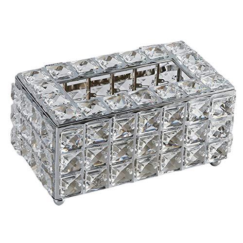 FLAMEER Caja de pañuelos faciales de Cristal Cubre Elegante rectángulo servilleta Soporte de Papel dispensador Caso Organizador para Hotel Oficina Coche casa - de Plata