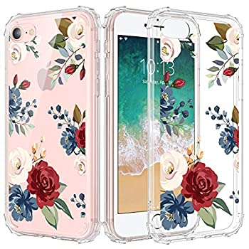 """Caka iPhone 7 Case iPhone 8 Case iPhone SE 2020 Case Clear with Design Floral Clear Flowers Pattern for Girls Women Girly Slim Thin Fit Cover Case for iPhone SE 2020 7 8 4.7"""" Rose Flower"""