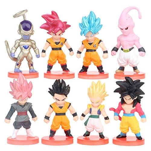 REYOKG Dragon Ball Cake Topper Pastel Decoración Suministros 8Pcs Goku Figures Toy Dragon Ball Juguetes Muñeca Hecha a Mano Muñeca Decoración para niños Animales Juguetes Set