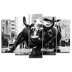 Faicai Art 5 Piece Canvas Wall Art Prints New York Landmark Charging Wall Street Bull Paintings Large Animal Printings Wall Posters Pictures Living Room Wall Decor Home Office Framed 50 W x 24 H