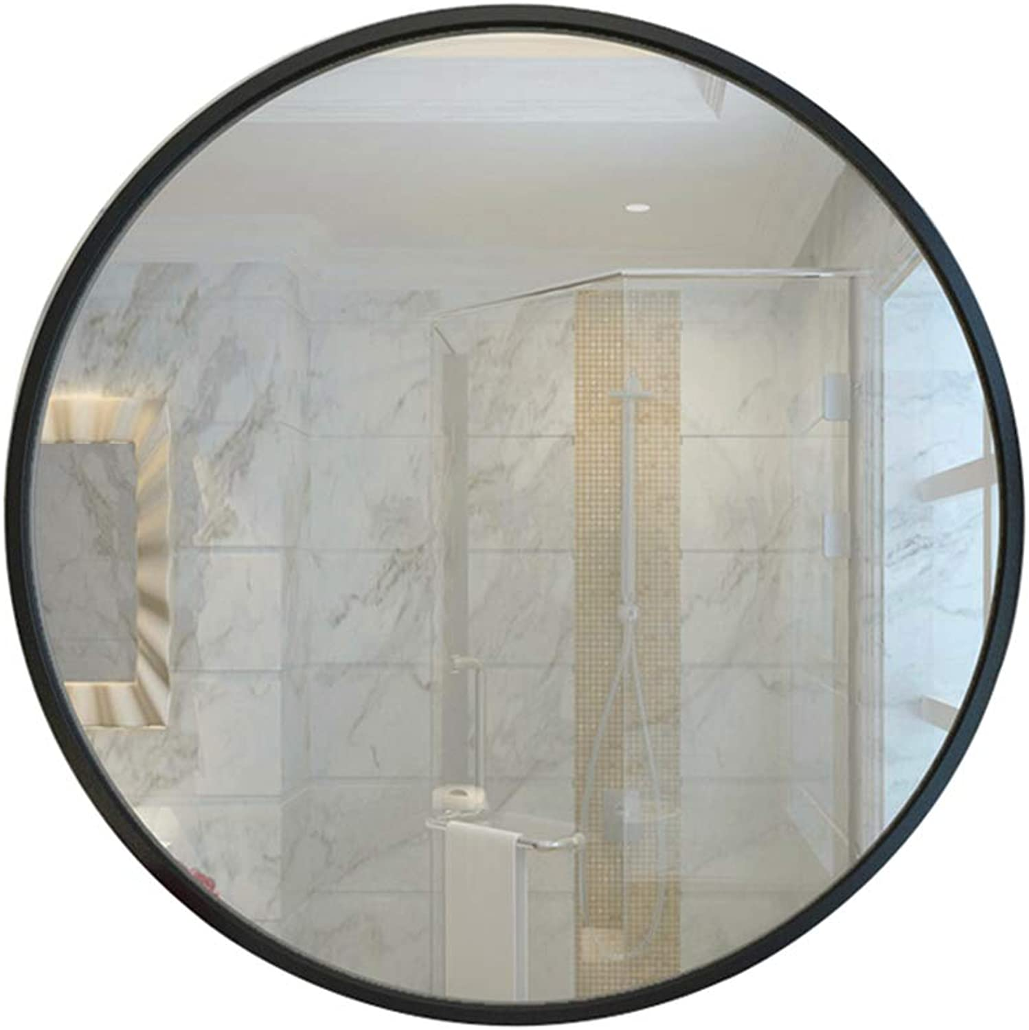 Wall-Mounted Mirror Round Diameter 40 50 60 70cm Black Metal Frame for Bedroom Bathroom Living Room Decorative Concise Fashion
