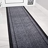 The Rug House Grey Rubber Backed Very Long Hallway Hall Runner Narrow Rugs Custom Length - Sold and Priced Per Foot 18ft