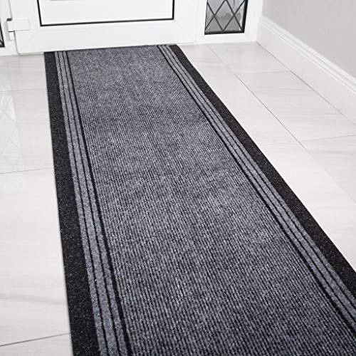 The Rug House Grey Rubber Backed Very Long Hallway Hall Runner Narrow Rugs Custom Length - Sold and Priced Per Foot 20ft