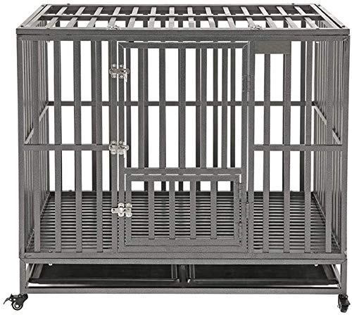 """KELIXU 42"""" Heavy Duty Dog Crate Large Dog Cage Metal Dog Kennels and Crates for Large Dogs Indoor Outdoor with Double Doors, Locks, Lockable Wheels and Removable Tray, Black"""
