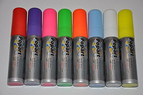 Rotuladores de tiza líquida fluorescentes de 10 mm, 8 colores, punta de neón, rotuladores de pizarra blanca, para menús de cristal y borrado en seco