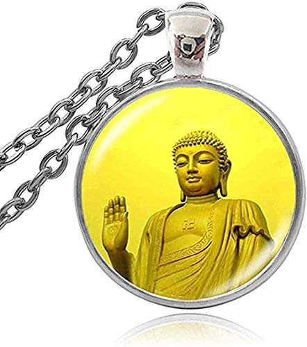 DUEJJH Co.,ltd Necklace Fashion Jewelry Buddhist Buddha Om Cabochon Glass Necklace Pendant Po Image Charm Jewelry Women Girls Accessories Pendant Necklace Gift for