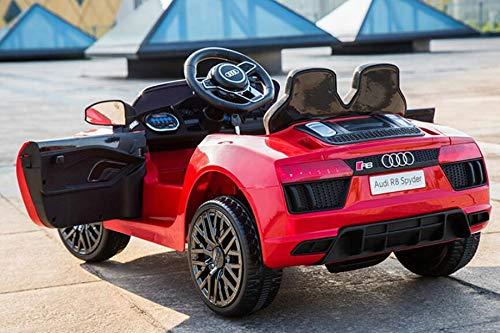 Kinderfahrzeug - Elektro Auto Audi R8B - lizenziert - 12V7Ah Akku und 2 Motoren- 2,4Ghz + MP3 + Leder + EVA-Rot