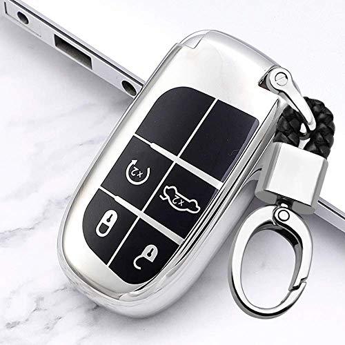 Funda para llave de coche con mando a distancia inteligente, para Jeep Grand Cherokee Compass Journey Renegade Dodge Key Cover Soft Tpu Protective Case Llavero 4 Llaves - Plata