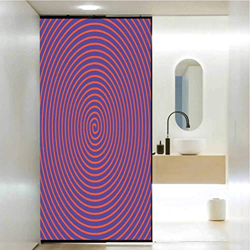 DIY Home Decoration Glass Stickers Window Folie, Psychedelic Hypnotic Spiral Pattern Spell Theme Optic, Bathroom Office Meeting Room Living Room Window Membrane, W23.6 x H35.4 Zoll