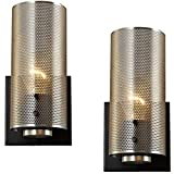 Hamilyeah Rustic Wall Sconces Set of Two, Vintage Nickel Sconces Wall Lighting with Grid Mesh Shade, Industrial Hardwired Wall Sconces for Bedroom Bathroom Home Theater, UL Listed