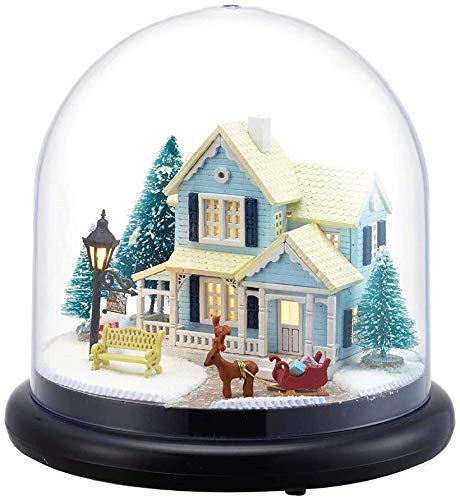 GOOCO Mini Puzzles Holz Miniatur Puppenhaus 3D Kit w/Light-Dome Puppenhäuser Zubehör Puppenhäuser mit Möbeln & LED