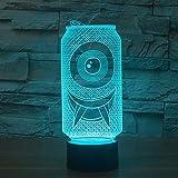 YDBDB 7 farbe atmosphäre tischlampe nacht 3d acryl coole dosen geformt led nachtlicht kinder geschenke dekor schlaf leuchte