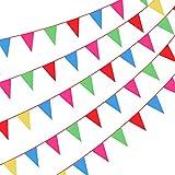Cojoy 50M rot Runde Seil Wimpelkette, Nylon Stoff Wimpel mit 100 Stück Dreieck Flaggen, Mehrfarbig...